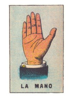 Mexican Fortune Telling Card, Hand Prints