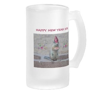 Funny Squirrel in New Years Hat 2012 Beer Stein Mugs