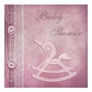 Pink Unicorn Rocking Horse & Lace Baby Shower Custom Invitations
