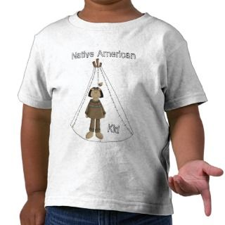 Native American Indian Boy With Tee Pee T   Shirt