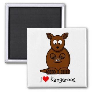 Cute Cartoon Kangaroo and Baby Joey Refrigerator Magnet