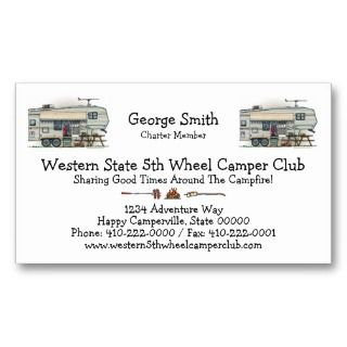 Cute RV Vintage Fifth Wheel Camper Travel Trailer Business Cards