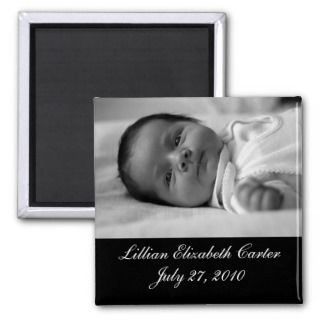 Black White Photo Baby Birth Magnet