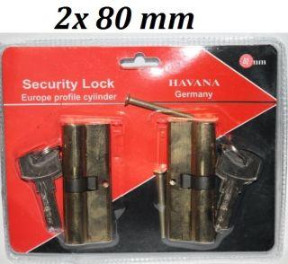 2x80mm Sicherheitsschloss 2x5 Schlüssel Profilzylinder Zylinder