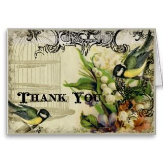 Thank You Notes   Yellow Song Bird Cage Floral Greeting Cards