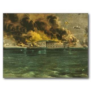 American Civil War Bombardment of Fort Sumter 1861 Postcards