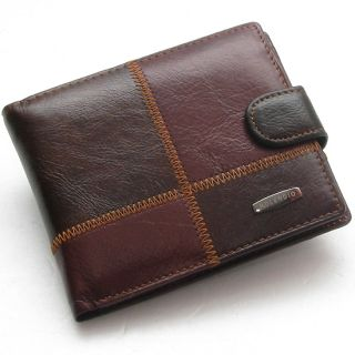 Mens Genuine Leather Bifold Wallet Purse with Coin Pocket 262
