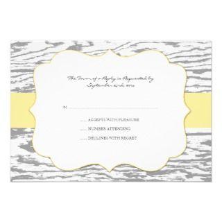 Yellow and Gray Chic Wood Grain Wedding Invitation
