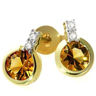 Goldmaid Damen Ohrstecker 585 Gelbgold 4 Diamanten 2 Citrin 0,02ctFa