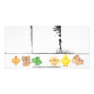 Baby animals 3 borders photo greeting card
