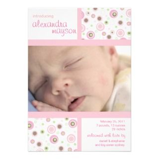Pink Brown Sweet Girl Polka Dot Baby Announcement