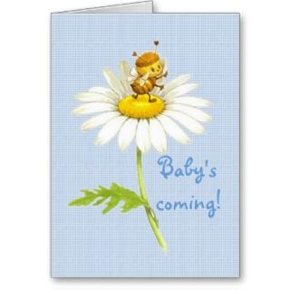 Babys Coming Baby Boy announcement, greeting card, gift card. This