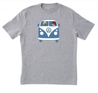 Kids Youth Boys GREY T Shirt All Sizes Smurfs VW Kombi Van Papa