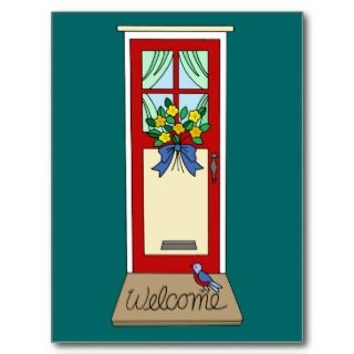 House Front Door Welcome Mat Post Cards