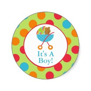 Baby Carriage Its a Boy Blue Baby Shower Sticker