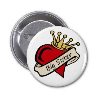 Big Sister Heart Tattoo Pinback Button