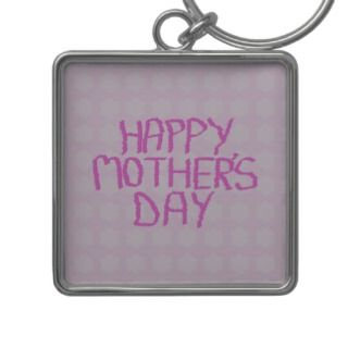 Happy Mothers Day. Pink Flower Pattern Key Chains