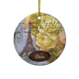 Eiffel Tower Paris Yellow Roses Christmas Ornament