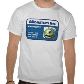 Monsters Inc. Mike Wazowski employee ID card T Shirts