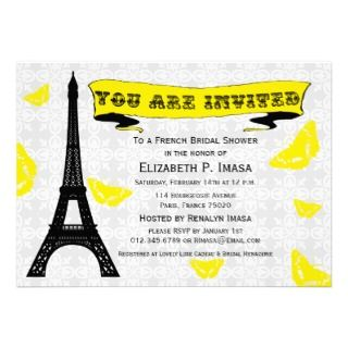 Eiffel Tower French Bridal Shower Invitations