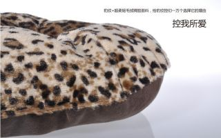 New Luxurious Leopard Print Pet Dog Cat Soft Bed House Kennel Small
