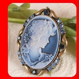 Swarovski Crystal CAMEO Pin Brooch pendant Blue CB281