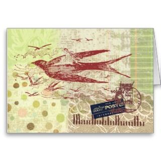Bon Voyage Thumbelina Collage Art Gift Card