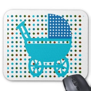 Blue Baby Carriage Mouse Pads