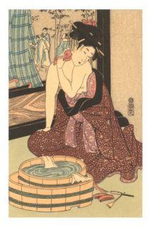 Japanese Woodblock, Lady at Bath Posters