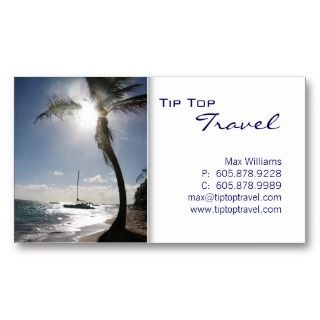 Travel Palm Tree Sun Ocean Boat Business Card