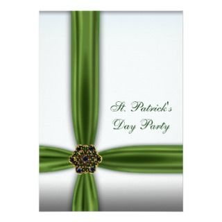 Green Emerald Ribbon St. Patricks Day Party Personalized Announcement