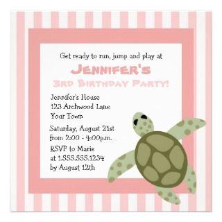 Cute Sea Turtle Birthday Party Invite Pink
