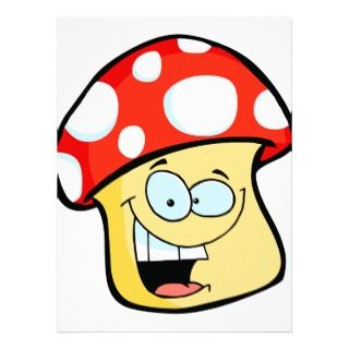 silly smiling mushroom toadstool cartoon character personalized
