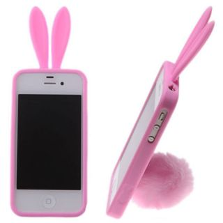 Lovely Bunny Rabbit Ears Tail Silicone Case Skin Cover For iPhone 4/4S