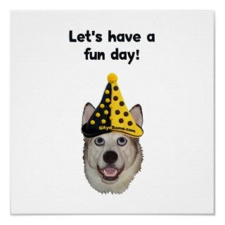 Big eyed dog wearing black and yellow polka dot clown hat and smiling