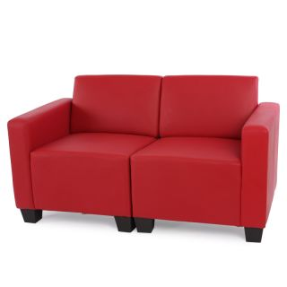 Modular Zweisitzer Sofa Couch Lyon Kunstleder schwarz creme rot