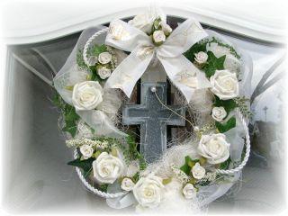 Türkranz Kreuz Weiß Rosen Kranz Kommunion Konfirmation Taufe