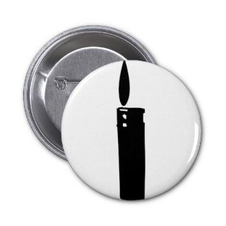 cigarette lighter with flame icon pinback button