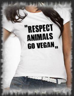 Retro, T Shirt RESPECT ANIMALS GO VEGAN Vintage distressed