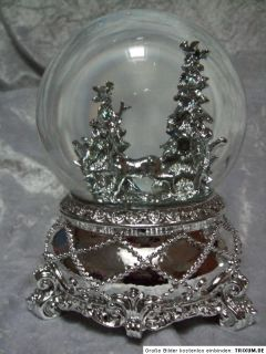 Weihnachten Jingle Bell Spieluhr Schneekugel Hirsch Wald Silber