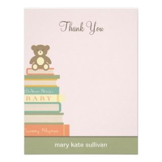 Bring A Book Baby Shower Thank You Cards (Pink) Personalized Invite