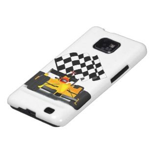Yellow Race Car with Checkered Flag Samsung Galaxy Cover