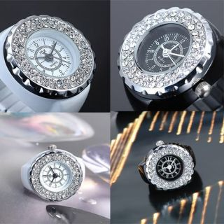 White Black Bling Crystal Ladies Girls Stretchy Mosaic Quartz Finger