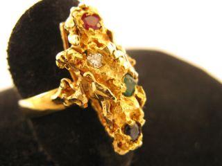 R305 750er 18kt Gelbgold Ring Natur Steingarten Diamant Rubin Saphir