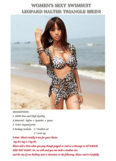 Sexy Leopard Print Triangle Bikini Charming Swimsuit Hot Swimwear