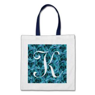 Monogram Blue Roses ToteBag Letter K