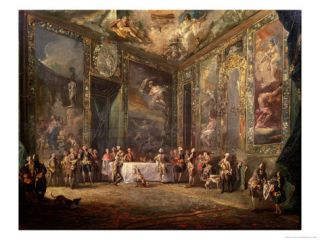 Charles III (1716 88) De Bourbon, Lunching Before His Court, circa 1770 Giclee Print by Luis Paret y Alcazar