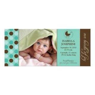 Polka Dot Baby Birth Announcement (aqua blue)
