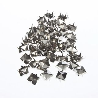 50PC 8MM Pyramid Studs Spots Nickel Punk Rock Design Spikes Heavy Duty