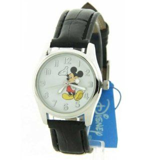 Disney MCK810 Womens Mickey Mouse White Dial Black Leather Strap